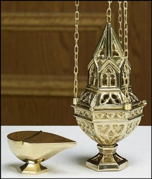 "10"" Ornate Censer & Boat Set 
