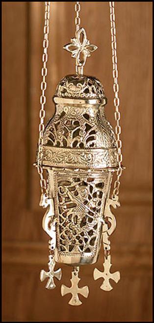 """10"""" Ornate Hanging Incense Burner   Brass"""