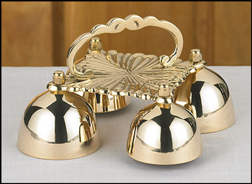 4 Cup Sacristy Bell with Handle   Brass
