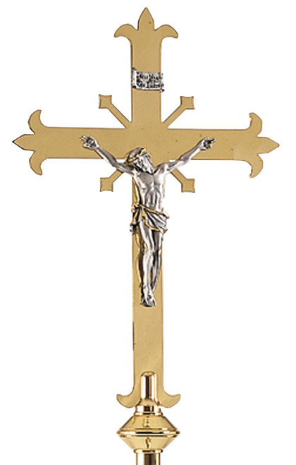 K113 Altar Crucifix with Silver Corpus | 18"