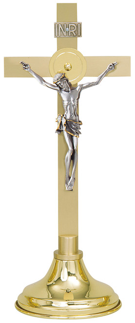 "15"" Altar Crucifix with Silver Corpus 