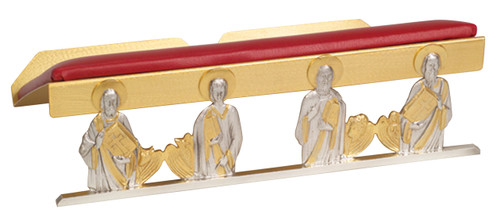 Four Apostles Bible/Missal Stand | 24K Gold & Silver Plated/Leather Padding