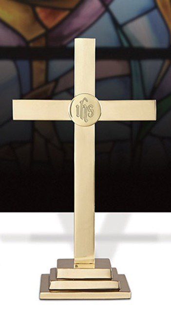 """15"""" Classic Altar Cross With IHS Emblem 