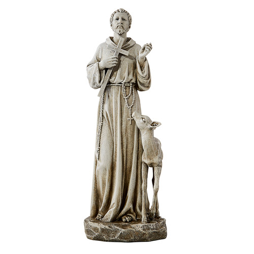 "13"" St Francis With Deer Garden Statue 
