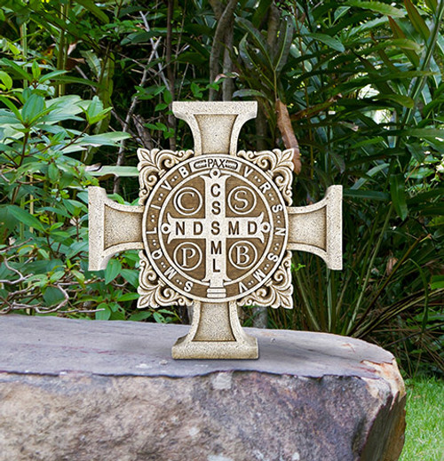 "11"" Saint Benedict Stepping Stone Cross | Resin/Stone"