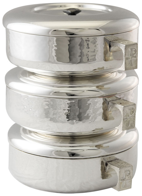 #446S Stacking Ciboria Set | Sterling Silver Plated | Hammered Texture | Single or Set | Holds 275 Hosts