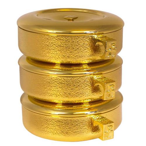 "8 3/4"" Stacking Ciboria Set   24K Gold Plated   Talon Texture High Polish"