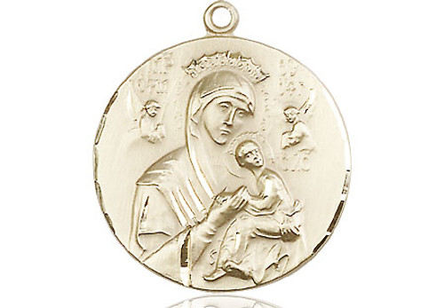 Our Lady of Perpetual Help Round Medal | Gold Filled