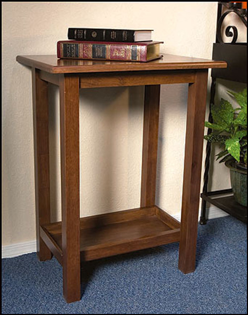 "Maple Hardwood Credence Table | Walnut Stain | 30""H"