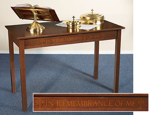 "Silk Screened ""In Remembrance of Me"" Communion Table 