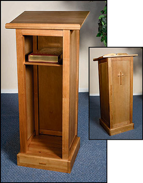 "Full Lectern with Shelf | Pecan Stain | 45""H"