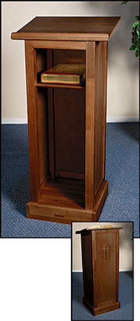 "Full Lectern with Shelf | Walnut Stain | 45""H"