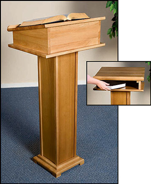 "Lectern with Shelf | Pecan Stain | 43""H"