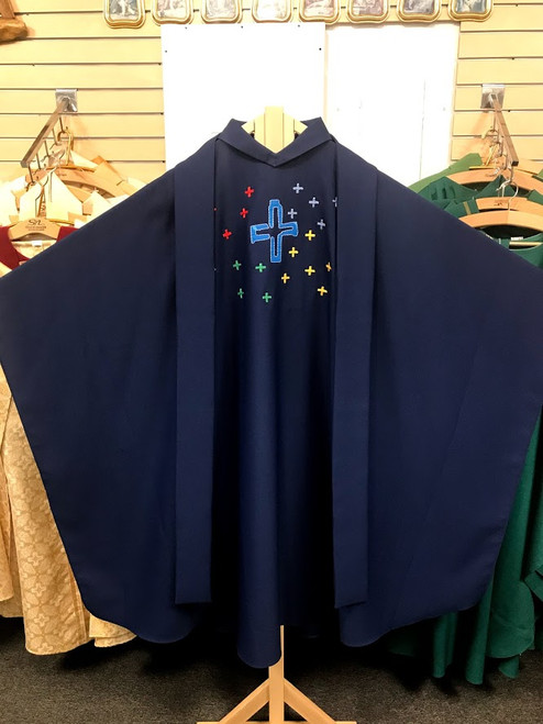 Serum Blue Monastic Chasuble with Crosses | Made In France