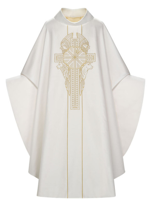 #5284 Four Evangelists Gothic Chasuble | Roll Collar | 55% Silk/45% Poly