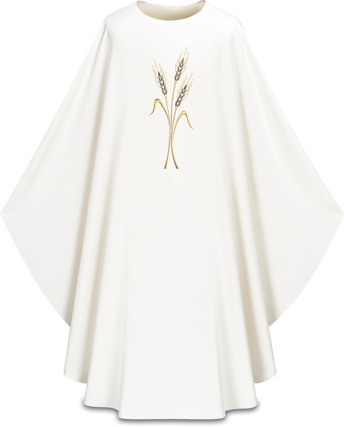 #5314 Wheat Emblem Gothic Chasuble | Plain Neck | 100% Polyester