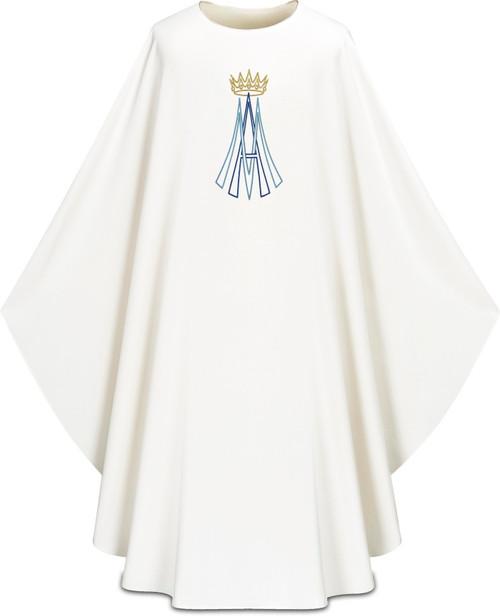 #5322 Marian Emblem Gothic Chasuble   Plain Neck   100% Polyester