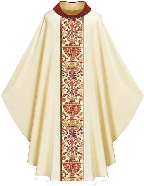 #2749 Regina Gothic Chasuble | Velvet Roll Collar | 30% Viscose/70% Poly | All Colors