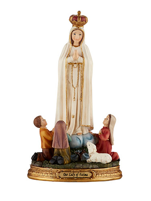 "8"" Our Lady Of Fatima with Children Statue 