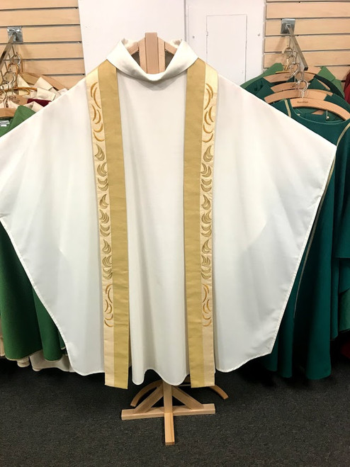 Stadelmaier White Monastic Chasuble with Gold Stole | Handmade In Holland