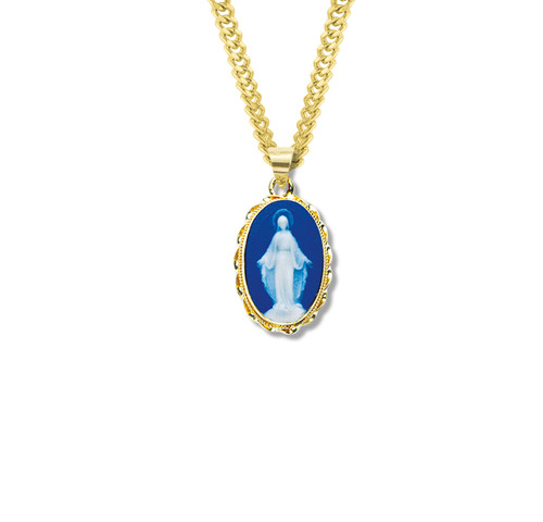 """Dark Blue Gold Over Sterling Silver Cameo Miraculous Medal 
