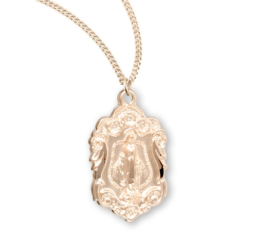 """Flower & Scroll Border Gold Over Sterling Silver Miraculous Medal 