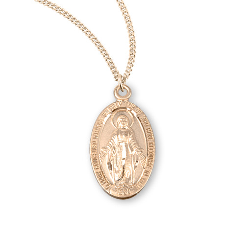 "16kt Gold Over Sterling Silver Oval Miraculous Medal | 18"" Gold Plated Chain"