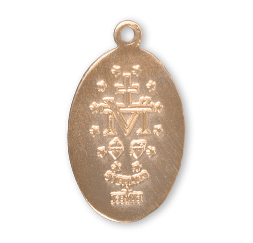 """16kt Gold Over Sterling Silver Oval Miraculous Medal   Small   18"""" Gold Plated Chain"""