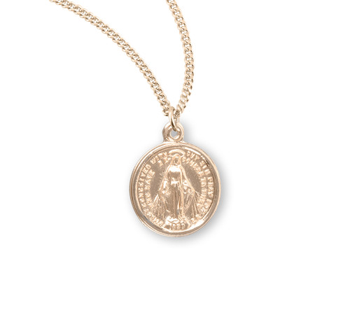 "16kt Gold Over Sterling Silver Round Miraculous Medal | 18"" Gold Plated Chain"