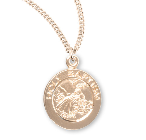 """Gold Over Sterling Silver Round Holy Baptism Medal 