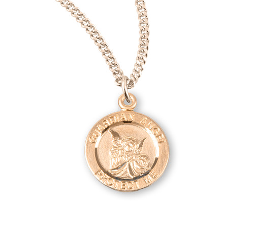 """Guardian Angel Round Gold Over Sterling Silver Medal   Blank Back   13"""" 16kt Gold Plated Chain"""