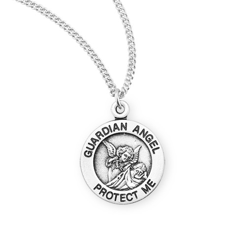 """Guardian Angel Round Sterling Silver Medal   13"""" Curb Chain"""