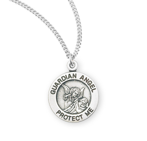 """Guardian Angel Round Sterling Silver Medal   13"""" Chain"""
