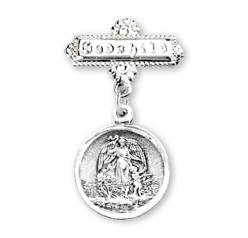 Guardian Angel Round Sterling Silver Medal on a Godchild Bar Pin