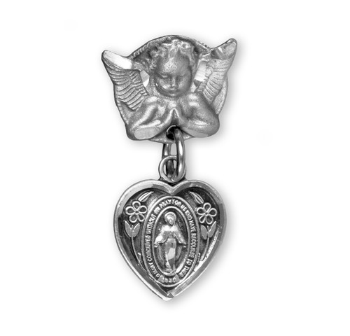 Heart Shaped Baby Miraculous Medal in Sterling Silver on an Angel Pin