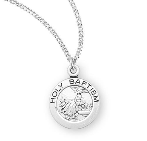 """Holy Baptism Round Sterling Silver Medal 