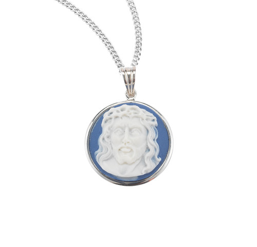 Light Blue Head of Christ Cameo Medal