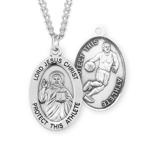 Lord Jesus Christ Oval Sterling Silver Basketball Male Athlete Medal