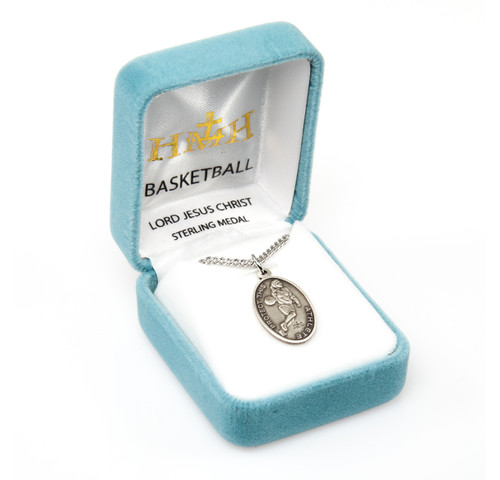 Lord Jesus Christ Oval Sterling Silver Female Basketball Athlete Medal