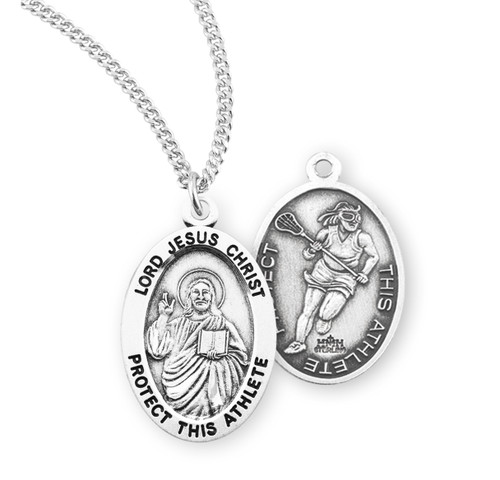 Lord Jesus Christ Oval Sterling Silver Female Lacrosse Athlete Medal