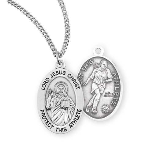 Lord Jesus Christ Oval Sterling Silver Female Soccer Athlete Medal