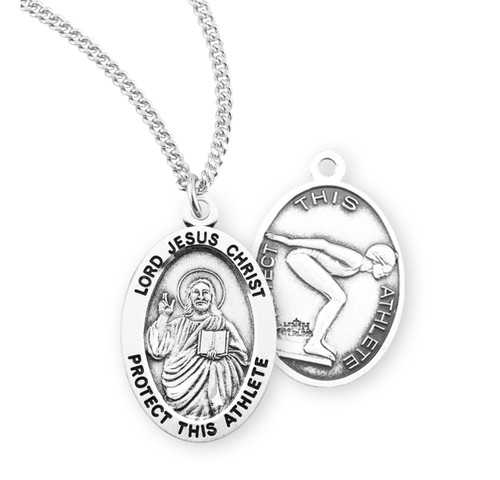 Lord Jesus Christ Oval Sterling Silver Female Swimming Athlete Medal