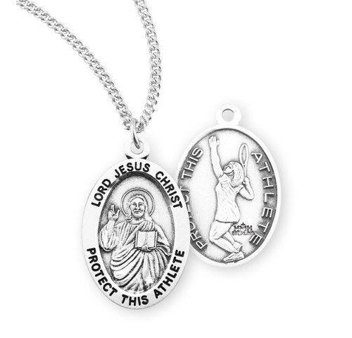 Lord Jesus Christ Oval Sterling Silver Female Tennis Athlete Medal