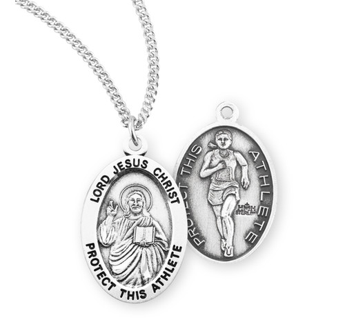 Lord Jesus Christ Oval Sterling Silver Female Track Athlete Medal