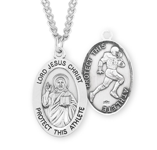 Lord Jesus Christ Oval Sterling Silver Football Male Athlete Medal