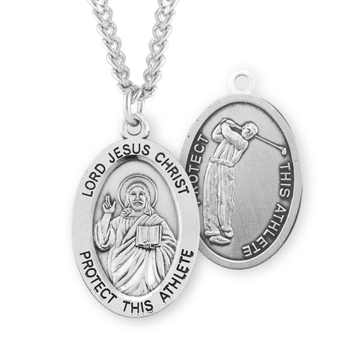Lord Jesus Christ Oval Sterling Silver Golf Male Athlete Medal