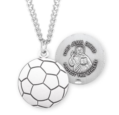 Lord Jesus Christ Sterling Silver Soccer Athlete Medal