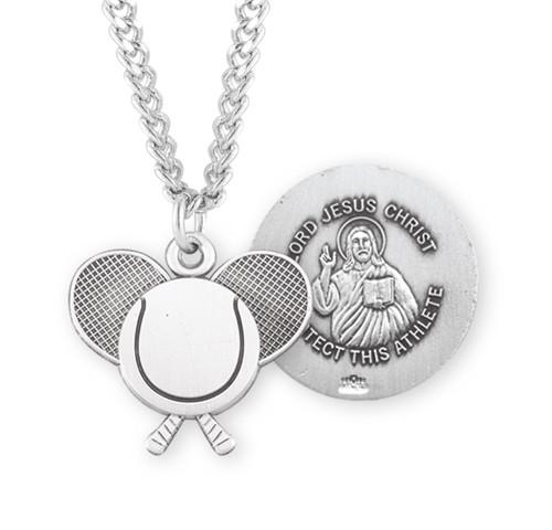 Lord Jesus Christ Sterling Silver Tennis Athlete Medal