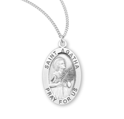 "Patron Saint Agatha Oval Sterling Silver Medal | Style B | 18"" Chain"