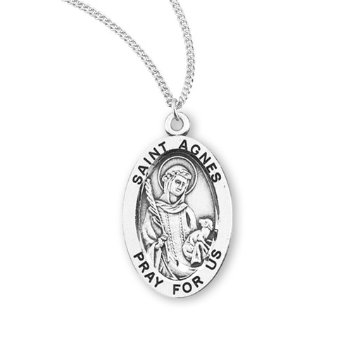 Patron Saint Agnes Oval Sterling Silver Medal